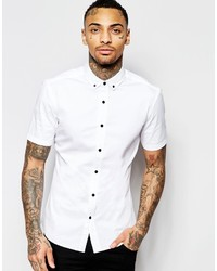 Asos Brand Skinny Shirt In White Twill With Short Sleeves