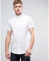 Brave Soul Oxford Grandad Short Sleeve Shirt With Pocket