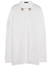 Versace Crystal Embellished Washed Silk Blend Shirt