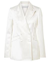 Gabriela Hearst Angela Double Breasted Cotton And Silk Blend Satin Blazer