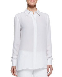 Vince Georgette Button Down Blouse White