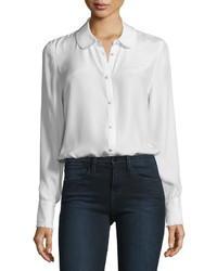 Frame Ruffle Cuff Silk Blouse Blanc