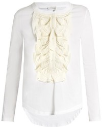Chloé Chlo Long Sleeved Silk Ruffle Trimmed Cotton T Shirt