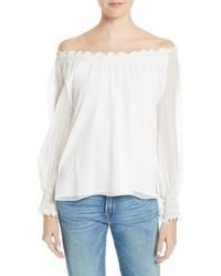 White Silk Off Shoulder Top