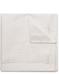 Berluti Scritto Mulberry Silk Jacquard Pocket Square
