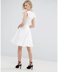 ffb4e9bd7ce ... Club L Frill Sleeve Pleat Detail Skater Dress ...