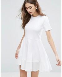 Asos Skater T Shirt Dress With Woven Cotton Hem Detail