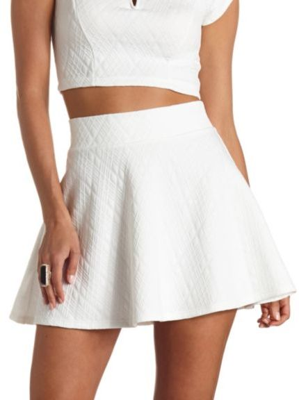 High Waisted White Skater Skirt - Dress Ala