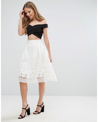 Forever Unique Skater Skirt With Mesh Overlay