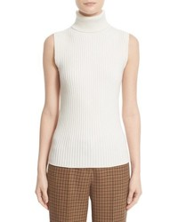 Michael Kors Michl Kors Sleeveless Ribbed Stretch Cashmere Turtleneck Sweater