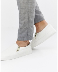 ASOS DESIGN Slip On Trainers In White With Zips