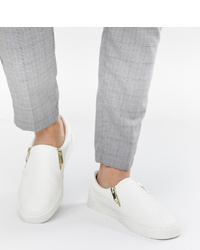 ASOS DESIGN Wide Fit Slip On Trainers In White With Zips