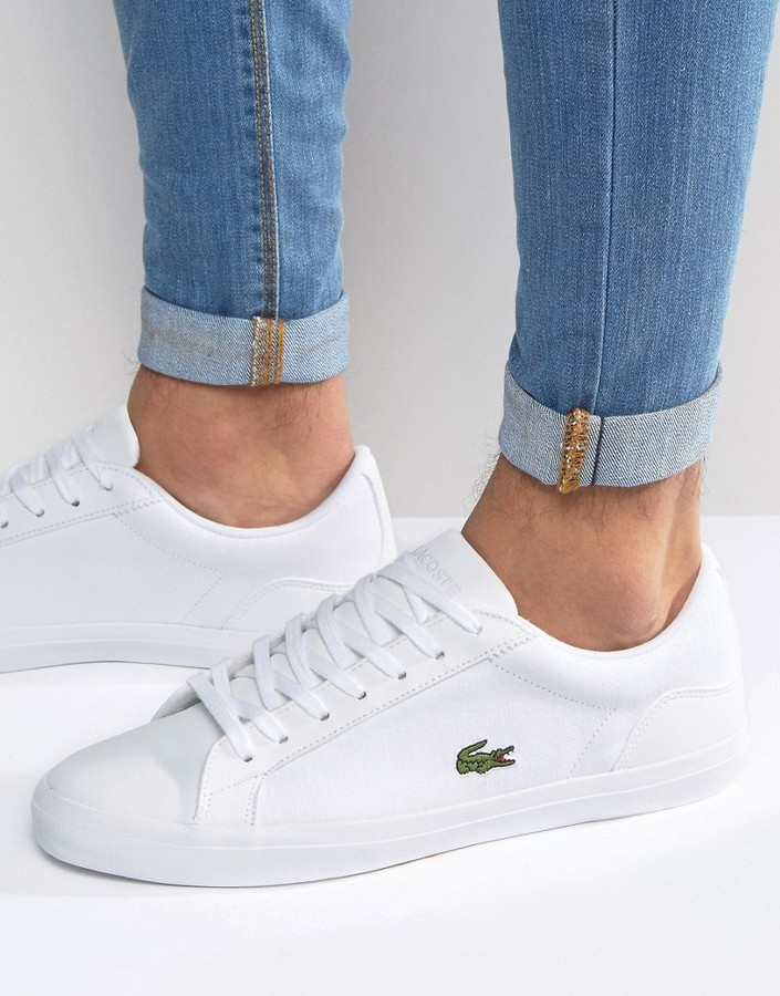 9febd81f76f327 ... Lacoste Lerond Canvas Sneakers In White ...
