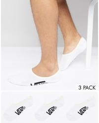 Vans 3 Pack Classic No Show Socks In White Vxttwht