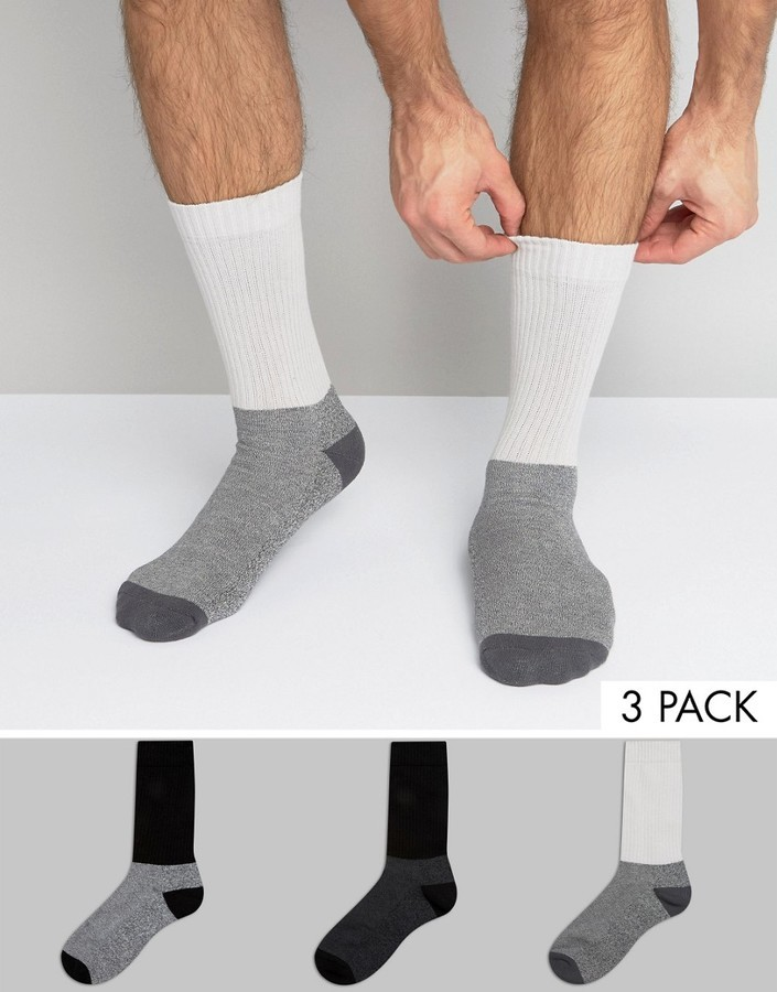 Asos Boot Socks In Monochrome With Long Rib 3 Pack