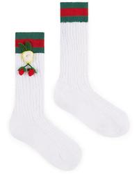 Gucci Girls Crochet Strawberry Cotton Knee Socks Whitegreen