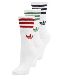 Solid crew 3 pack socks white medium 4158217