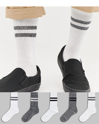 ASOS DESIGN Sports Style Socks In Monochrome Salt Pepper Twist 5 Pack