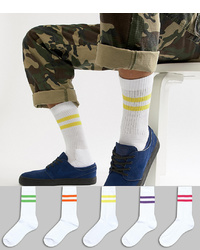 ASOS DESIGN Sports Style Socks With Bright Stripes In White 5 Pack