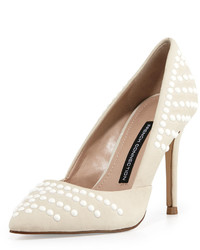 White Studded Leather Pumps