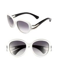 Alexander McQueen 56mm Retro Sunglasses White One Size