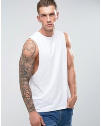ASOS DESIGN Sleeveless T Shirt With Dropped Armhole In White