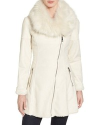 Catherine catherine malandrino asymmetrical skirted faux shearling coat medium 1317603