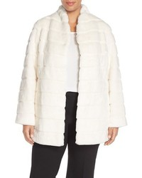Ellen Tracy Plus Size Grooved Faux Fur Coat