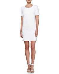 White Textured Shift Dress