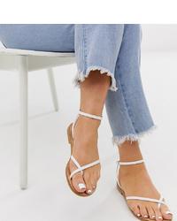 ASOS DESIGN Wide Fit Freefall Minimal Toe Loop Flat Sandals In White