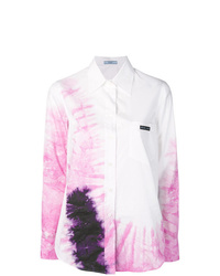 White Tie-Dye Dress Shirt