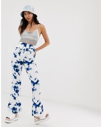 ASOS DESIGN High Waist Flare In Tie Dye Print