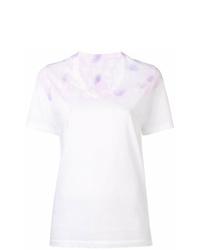 White Tie-Dye V-neck T-shirt