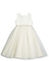 Joan Calabrese Satin Textured Tulle Special Occasion Dress White Size 7 14