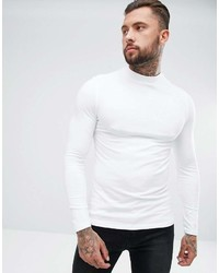 Asos Design Muscle Long Sleeve T Shirt With Turtleneck In White