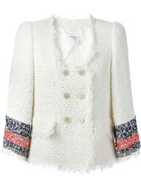 Sonia Rykiel Contrasting Sleeve Stripe Tweed Jacket