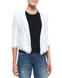 Milly Fringe Trim Cropped Tweed Blazer