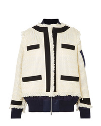 Sacai Paneled Fringed Canvas Trimmed Tweed And Shell Jacket
