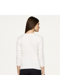 Ralph Lauren Black Label Mitered V Neck Cable Cashmere