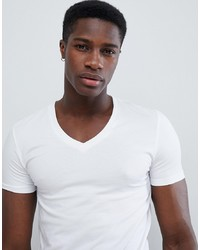ASOS DESIGN Muscle Fit T Shirt With V Neck And Stretch In White