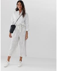 ASOS DESIGN Linen Culottes In Stripe
