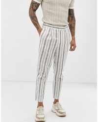 White Vertical Striped Dress Pants