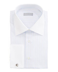 Stefano Ricci Contrast Collar Striped Dress Shirt Whitelavender