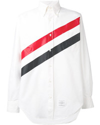 Thom Browne Long Sleeve Shirt With Printed Diagonal Stripe In White Oxford