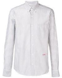 Ami Paris Slim Fit Button Down Shirt Ami Front Embroidery