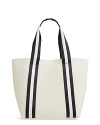White Vertical Striped Leather Tote Bag