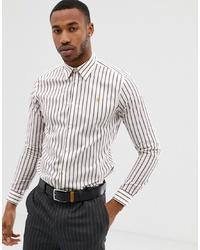 Farah Smart Farah Dillard Stripe Shirt In Off White