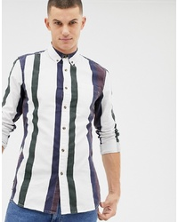 New Look Regular Fit Shirt In Burgundy Stripe