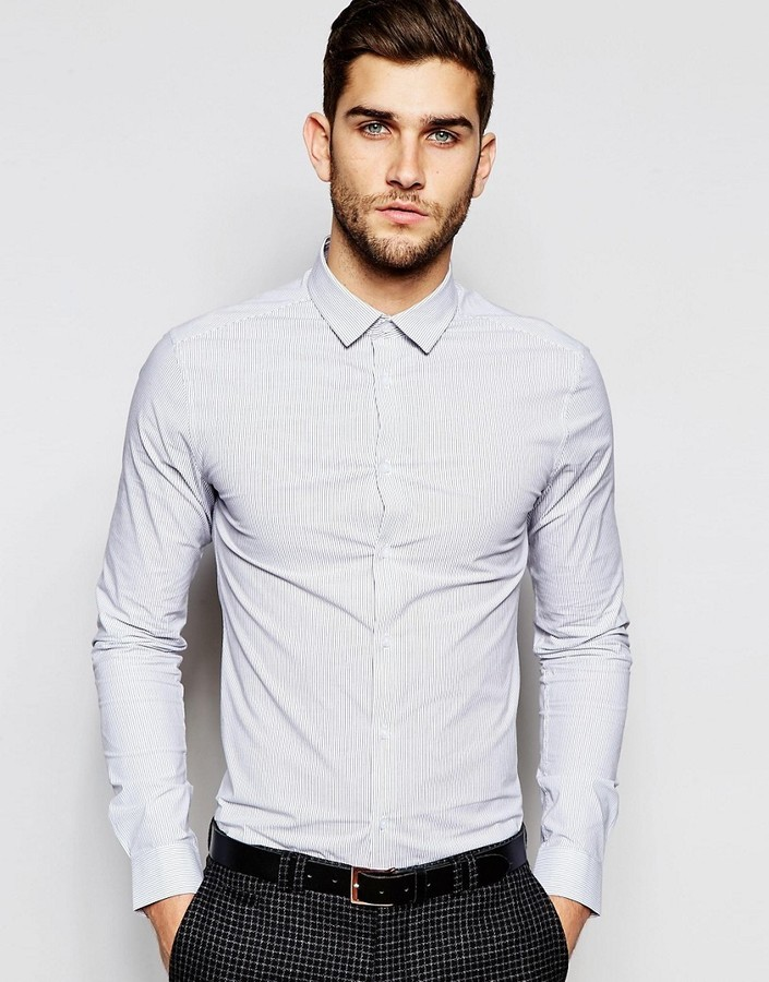 08f5d29f2a8e ... Asos Skinny Shirt In Fine Stripe With Long Sleeves ...