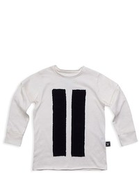White Vertical Striped Long Sleeve T-Shirt